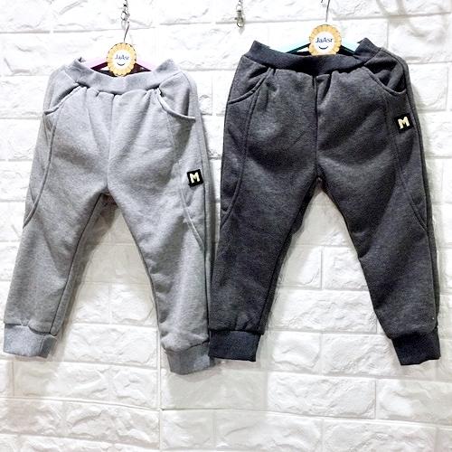 ☆棒棒糖童裝☆(S37597)秋冬男童鬆緊腰貼布M內刷毛長褲  5-15