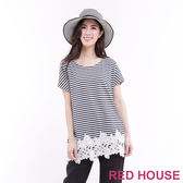 RED HOUSE-蕾赫斯-圓領條紋拼接蕾絲長版上衣(共2色)