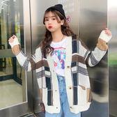 長袖寬鬆加厚格子毛衣開衫學生時尚女裝中長外套上衣 糖果時尚