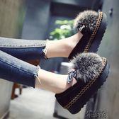 真狐貍毛毛鞋女秋冬韓版加絨豆豆鞋鬆糕厚底懶人瓢鞋棉鞋 街頭布衣