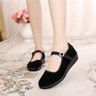 老北京布鞋女鞋平底單鞋休閒工作鞋女黑色軟底跳舞女鞋媽媽鞋防滑