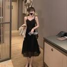 2021春夏季新款V領吊帶連身裙女收腰顯瘦氣質小黑裙性感長裙