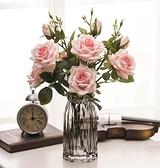 雪山玫瑰 仿真花多頭玫瑰花假花裝飾花綠葉客廳家居軟裝擺件 三支 Cocoa