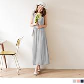 OB嚴選《DA3222-》純色雪紡腰鬆緊設計無袖長洋裝