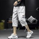 七分工裝褲 男寬鬆夏季薄款日系大碼潮牌男士工裝短褲潮流休閒7分褲子 JX1419『Bad boy時尚』