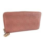 【奢華時尚】GUCCI 復古粉色雙G壓紋牛皮金屬吊飾12卡拉鍊長夾(八五成新)#24020