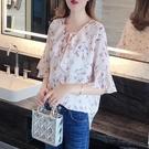 碎花上衣 碎花雪紡衫女短袖2020夏新款時尚洋氣小衫超仙襯衫寬松遮肚子上衣 交換禮物