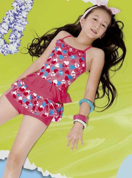 【M6561 】梅林泳裝降價↘特賣~女童粉色愛心綴荷葉邊搭裙褲二件式泳衣  贈泳帽