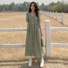 大碼裝新款法式氣質格子v領森系長裙女胖mm寬鬆顯瘦短袖連身裙 polygirl