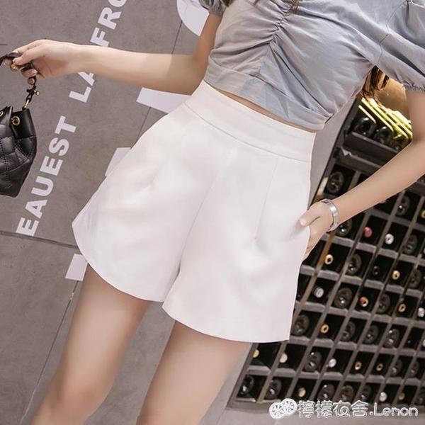 雪紡短褲 白色夏季雪紡時尚寬管短褲女高腰顯瘦春夏新款寬松外穿薄款 檸檬衣舍