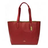 【COACH】織布提袋軟牛皮無拉鍊托特包(紅)