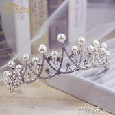 兒童頭飾 水晶女童珍珠水鑽皇冠兒童水鑽王冠髮飾結婚新娘飾品婚紗禮服配飾 新品