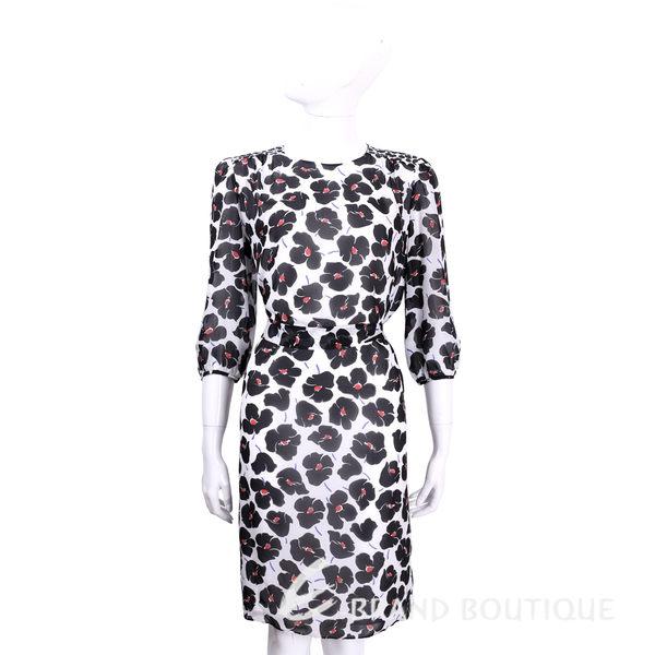 BOUTIQUE MOSCHINO 白色印花七分袖綁腰洋裝(附腰帶) 1620532-20