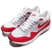 【五折特賣】 Nike 復古慢跑鞋 Wmns Air Max 1 Ultra Flyknit 白 灰 紅 編織鞋面 女鞋【PUMP306】 843387-101