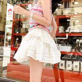 2018夏季新款蕾絲蓬蓬半身裙子女白色蛋糕減齡學生齊屁高腰小短裙   mandyc衣間