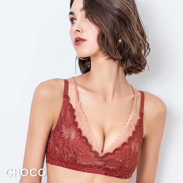 Choco Shop-密探伊甸園‧無鋼圈薄襯層次雙拉提蕾絲內衣(紅色) 70B~90D