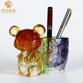 琉璃老鼠 筆筒擺件 生肖鼠可愛禮物水晶工藝品生日禮品辦公室桌面