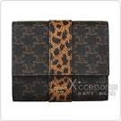 CELINE TRIOMPHE燙金LOGO帆布搭配動物紋牛皮5卡釦式三折短夾(黃褐)