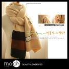 韓國進口長款拚貼加厚圍巾 質感拚布針織毛線男女款圍巾 mo.oh (包包配件)