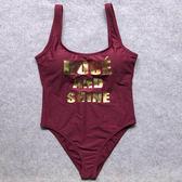 女士基本款露背前胸燙金字母性感高腰三角連身游泳衣禮物限時八九折