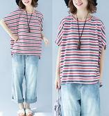 T恤【L346】FEELNET中大尺碼女裝夏裝韓版圓領休閒顯瘦條紋短袖上衣 均碼