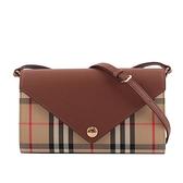 【BURBERRY】可拆式背帶 Vintage 格紋皮革信封式皮夾(棕褐色) 8025162 A1363