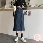 復古牛仔半身裙女夏顯瘦中長款高腰長裙【大碼百分百】
