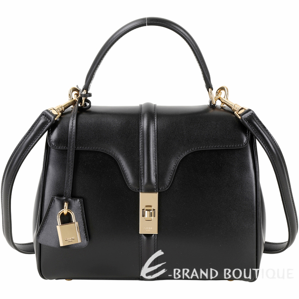 CELINE 16系列 緞面小牛皮黃銅扭鎖小型手提/斜背兩用包(黑色)1930048-01