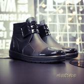 男士雨鞋短筒夏成人水鞋時尚平底工作鞋防滑雨靴防水廚師鞋「時尚彩虹屋」