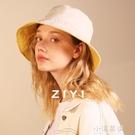 【雙面戴】帽子女士春夏遮陽防曬黃色盆帽寬檐光身日系漁夫帽『小淇嚴選』