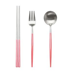 【ICR】304不鏽鋼經典工藝葡式餐具組(筷子 叉子 湯匙/附收納盒)珊瑚粉
