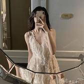 洋裝 三亞巴厘島海邊度假氣質超仙吊帶沙灘裙女小個子夏季露背洋裝子