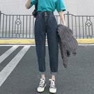 高腰直筒牛仔褲 9028#新款高腰寬松顯瘦哈倫牛仔褲女闊腿直筒老爹蘿卜褲子1F157.1號公館