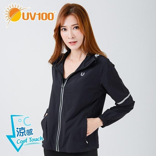 UV100 防曬 抗UV-冰纖反光輕透連帽外套-女
