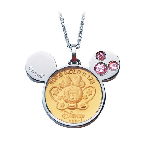 迪士尼系列金飾-黃金金幣項鍊-蝴蝶美妮款-C