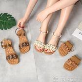 平底軟底孕婦鞋百搭韓版復古大碼一字帶涼鞋   至簡元素