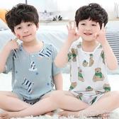 夏季棉綢兒童男童睡衣短袖薄款男生男孩套裝綿綢小孩子寶寶家居服 中秋節