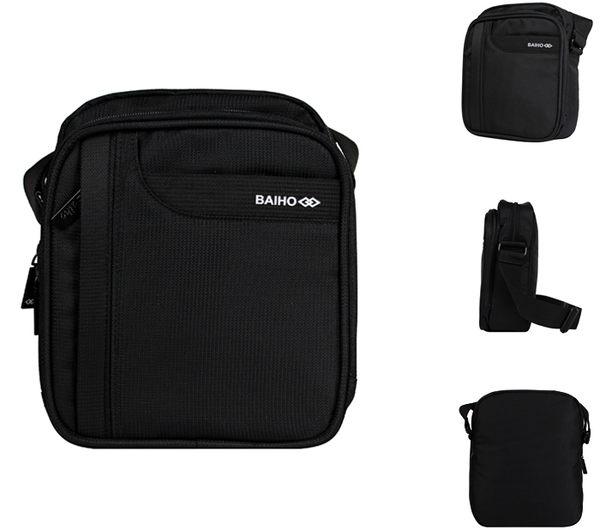 【橘子包包館】BAIHO 台灣製造 直式 多功能 側背包/斜背包 BHO258 黑色