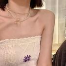 項鍊 早春春季珍珠蝴蝶結項鍊女雙層2021年新款輕奢小眾鎖骨鍊頸鍊 寶貝寶貝計畫 上新