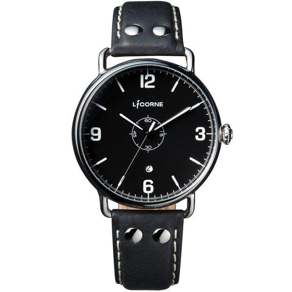 【LICORNE 力抗錶】 光陰系列仿舊設計手錶 (黑 LI058MWBB)