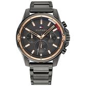 【台南 時代鐘錶 Tommy Hilfiger】1791790 機能 鋼錶帶 三眼計時男錶 44mm 鐵灰/金圈