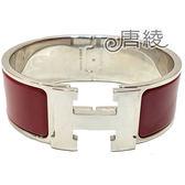 【Hermes 愛馬仕】Clic H LOGO琺瑯寬版PM手環(紅色X銀色 H300001FP8B)