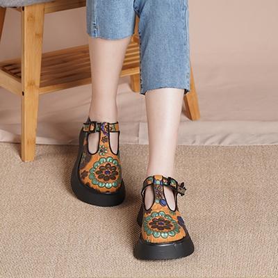 真皮手工鞋 民族風休閒鞋 扣帶厚底鞋/2色-夢想家-標準碼-0401