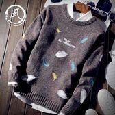 秋冬裝學生韓版潮流個性男士毛衣圓領套頭針織線衫日系青年刺繡男