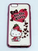 正版授權 HELLO KITTY Apple iPhone 6/iPhone 6S(4.7吋) 軟式手機殼 電鍍彩繪系列 草莓帽 可加購保貼更超值
