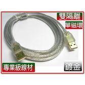 i-wiz USB2.0 A公-A公鍍金透明強化線 3米