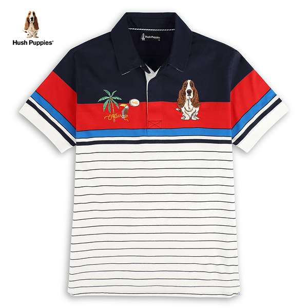 Hush Puppies POLO衫 男裝多色條紋圖騰刺繡狗短袖POLO衫