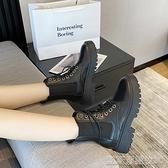 平底短靴新款厚底馬丁靴女夏季薄款透氣春秋單靴百搭英倫風潮ins短靴 【快速出貨】