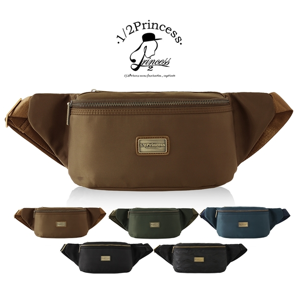 1/2princess高磅防潑水尼龍休閒二用斜側胸包腰包-5色[A2781]