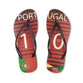 QWQ創意鞋-  世界盃足球紀念鞋 葡萄牙 細帶女款天然橡膠人字拖
